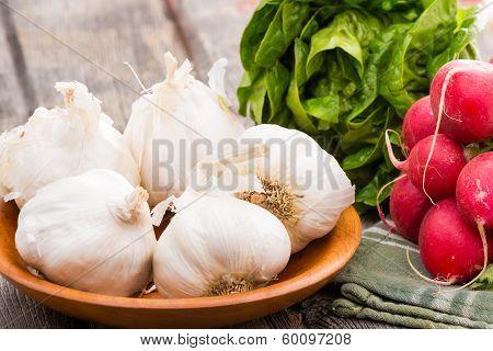 Fresh Healthy Garlic,. Radish And Lettuce