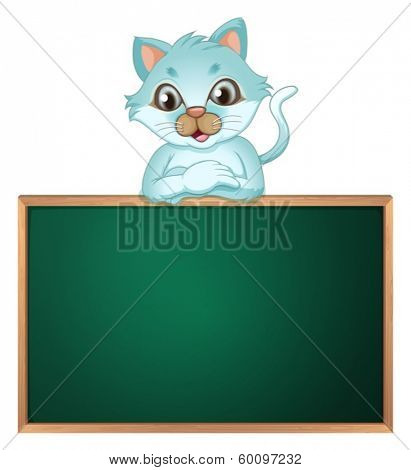 Illustration of a cat above the greenboard on a white background