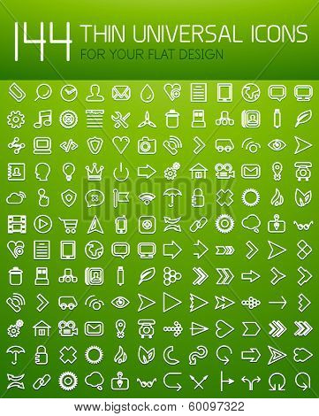 Large collection of 144 thin universal web icon set for your flat design. For business background | numbered banners | business lines | graphic website | mobile app