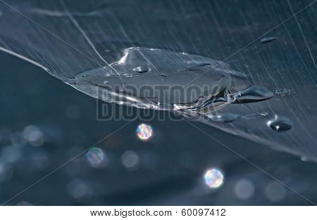 water drops on the polyethylene