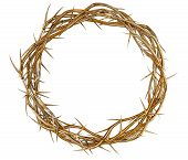 stock photo of crucifixion  - Branches of thorns made of gold woven into a crown depicting the crucifixion on an isolated background - JPG