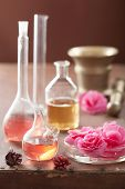 stock photo of begonias  - aromatherapy and alchemy with pink flowers - JPG