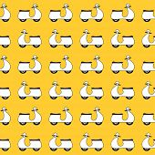 picture of vespa  - Seamless pattern with small vespa scooters on yellow background  - JPG