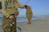 image of halibut  - A fly fisherman hold a rod and a California halibut along the ocean beach.