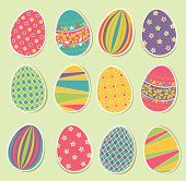 stock photo of easter decoration  - Set of colorful Easter eggs - JPG