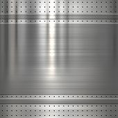 Metal plate on metal mesh background or texture