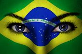 pic of country girl  - Woman with Brazil flag painted on her face - JPG