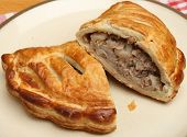 Cornish pastie filled with meat and vegetables
