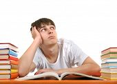 picture of jade  - Bored Student on the School Desk on the White Background - JPG
