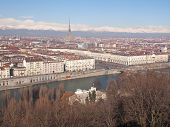 stock photo of turin  - Turin skyline panorama seen from the hills surrounding the city - JPG