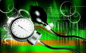 image of sphygmomanometer  - Digital illustration of sphygmomanometer in colour background - JPG
