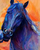 stock photo of paint horse  - Original abstract oil painting of a beautiful blue horse - JPG