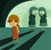stock photo of peer  - little girl being ostracized and bullied by other girls - JPG
