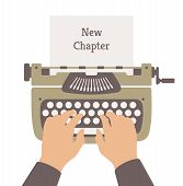 image of typewriter  - Flat design style modern vector illustration concept of author writing a new chapter in a novel story on a manual vintage stylish typewriter - JPG