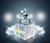 Final game Sweden vs USA. Hockey player on ice cube