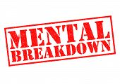 stock photo of nervous breakdown  - MENTAL BREAKDOWN red Rubber Stamp over a white background - JPG