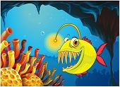 pic of piranha  - Illustration of a cave with a piranha - JPG