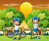 foto of headgear  - Illustration of the two adorable kids biking - JPG