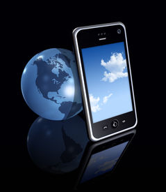foto of mobile-phone  - three dimensional mobile phone and earth globe on black background - JPG