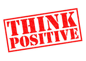 picture of pma  - THINK POSITIVE red Rubber Stamp over a white background - JPG