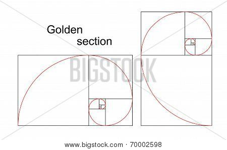 Illustration Of Double Golden Spiral (section, Ratio, Proportion)