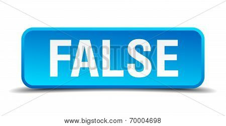 False Blue 3D Realistic Square Isolated Button