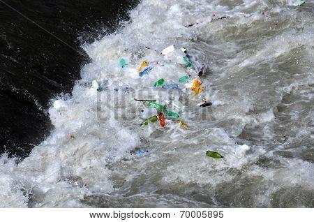 Plastic Bottles In The Tiber River