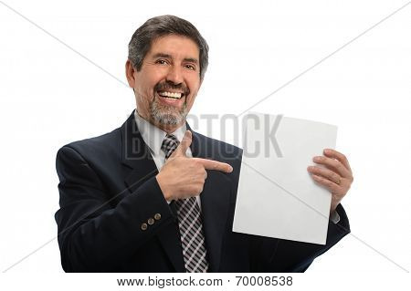 Portrait of Hispanic senior businessman pointing to blank sign isolated over white background