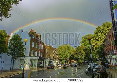 Rainbow Over A Small Town