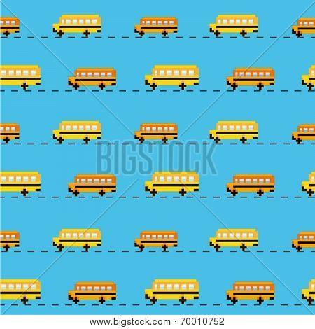 Pixel school bus background