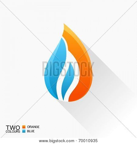 Vector symbol fire. Blue and orange flame glass icon with shadow isolated