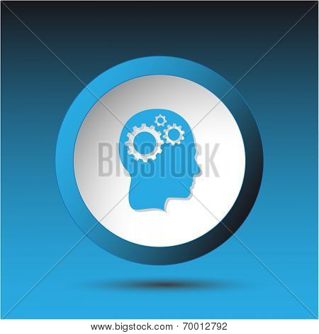 Human brain. Plastic button. Raster illustration.