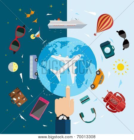 Travel infographics with data icons and elements. Flat vector illustration.