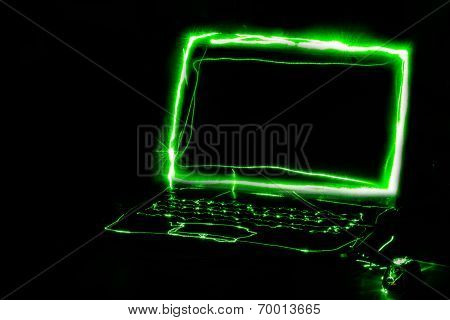 Light painted computer at desk