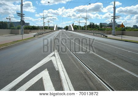 Street On Rocha Bridge In Poznan