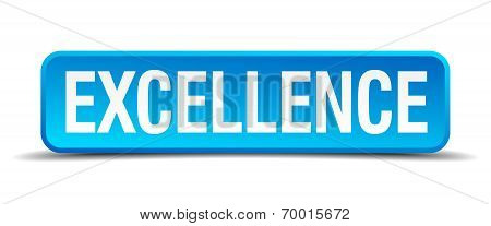 Excellence Blue 3D Realistic Square Isolated Button