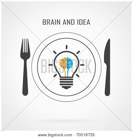 Creative Light Bulb Idea And Brain Sign