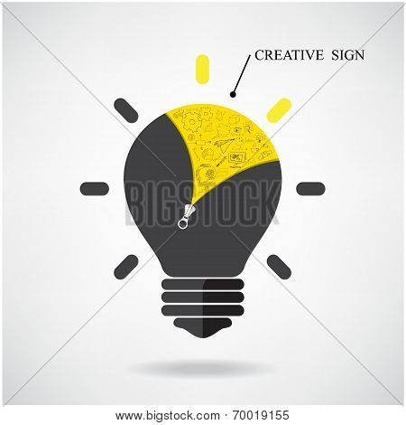 Creative Light Bulb Idea Concept With Doodle Hand Drawn Sign.