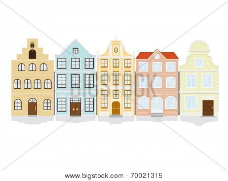 Historic Town House Icon Set. Vector illustration of five historic townhouse icons. Each icon on separate layer, flat design, no gradients.