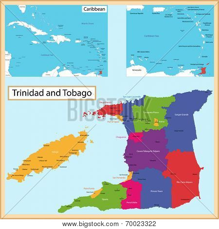 Map of the the Republic of Trinidad and Tobago drawn with high detail and accuracy. Trinidad and Tobago is divided into corporations which are colored with different bright colors