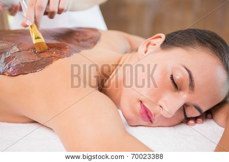 Side view of an attractive young woman receiving chocolate back mask at spa center