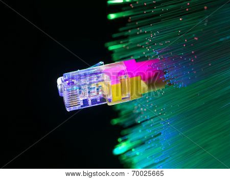 network cables closeup with fiber optical background