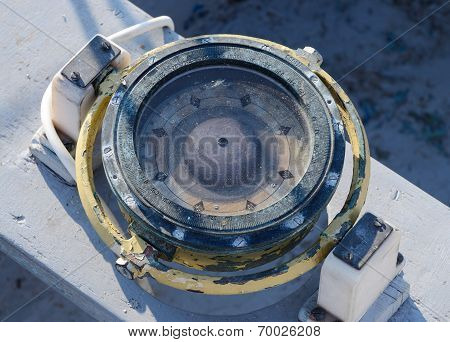 Vintage Nautical Compass In The Cockpit Of Old Yacht, Equipment For Heading Course