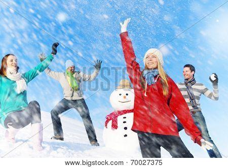 Snow fight.