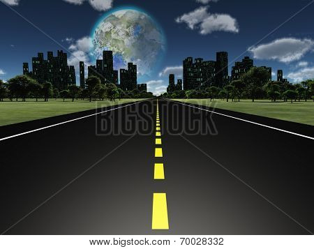 Terraformed moon as seen from highway on future earth Elements of this image furnished by NASA