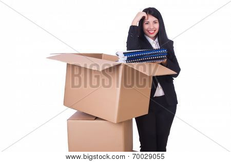 Young woman moving jobs isolated on white