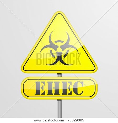 detailed illustration of a yellow EHEC biohazard warning sign, eps10 vector
