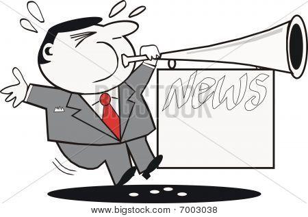Man blowing trumpet cartoon