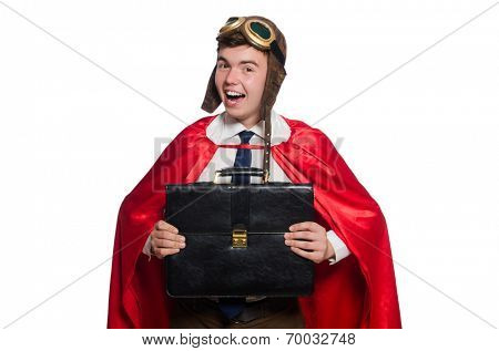 Funny here with briefcase isolated on the white