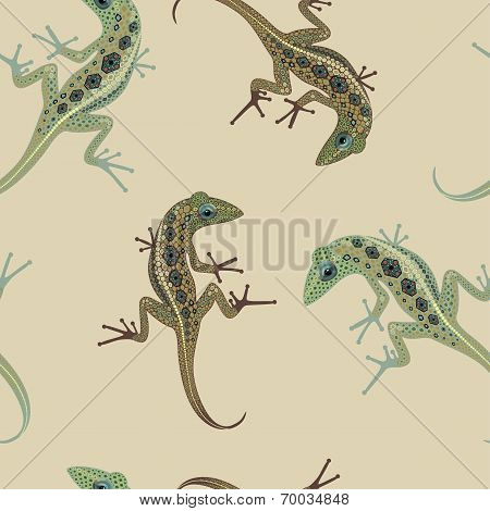 pattern bulky lizard on a background color